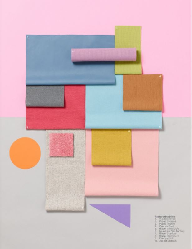 Rejoice,Reflect, fabric swatches, camira fabric, office colour scheme