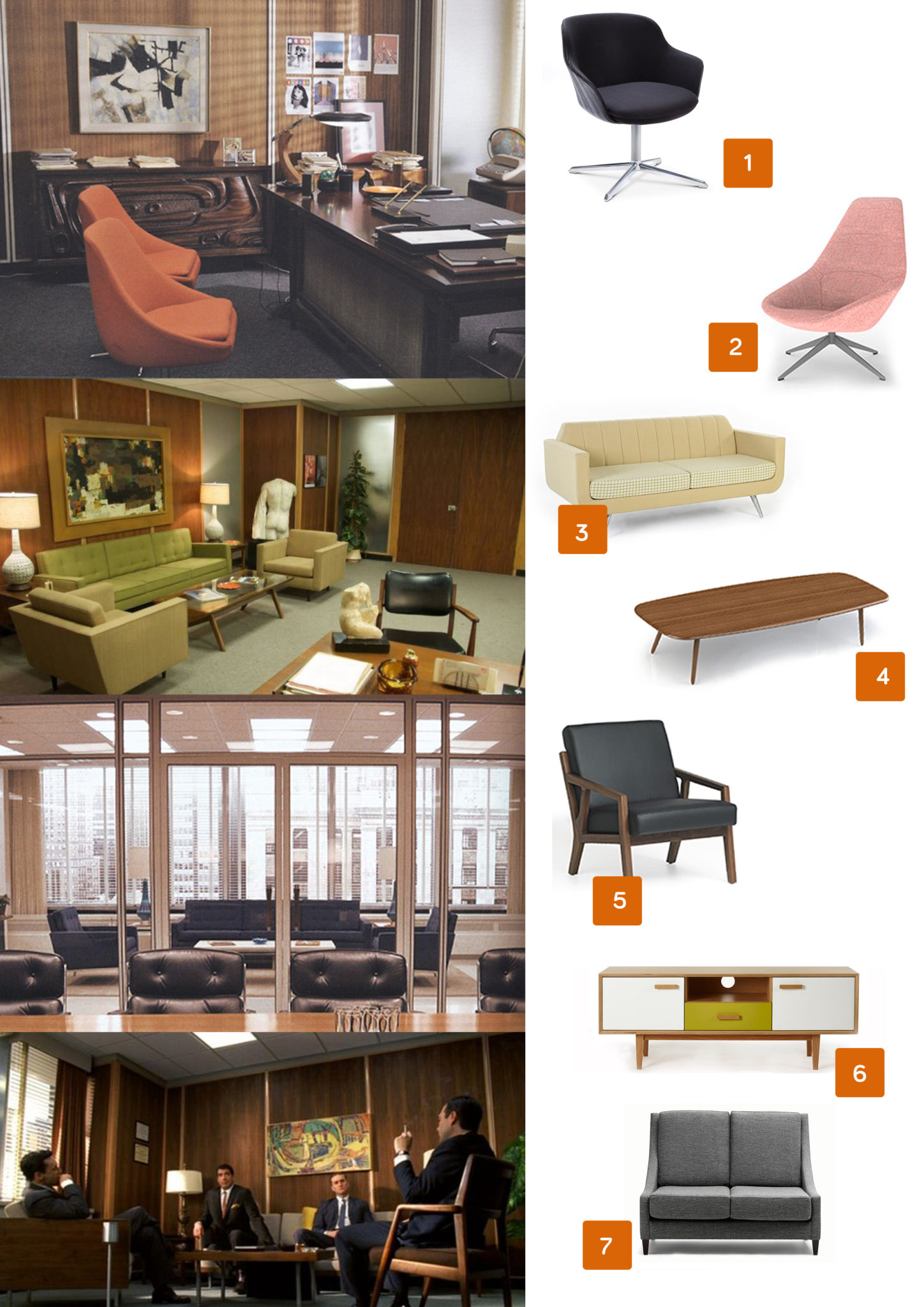 Mad men offices, mid century modern furniture, eames, retro office furniture, 60s, brighton