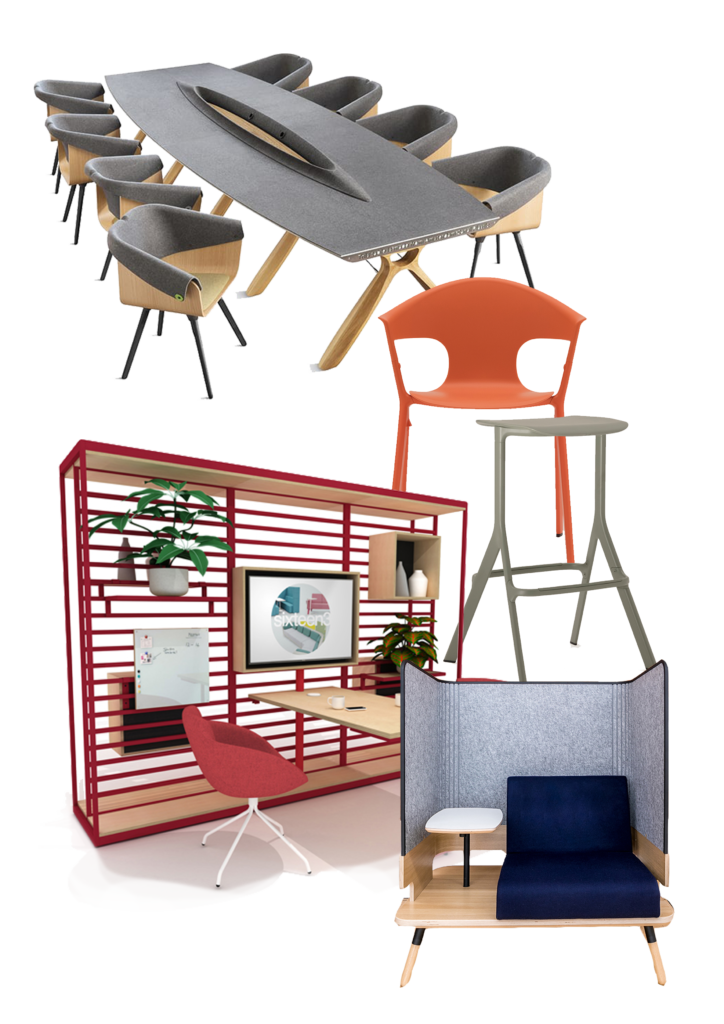 Mood board sustainable office furniture